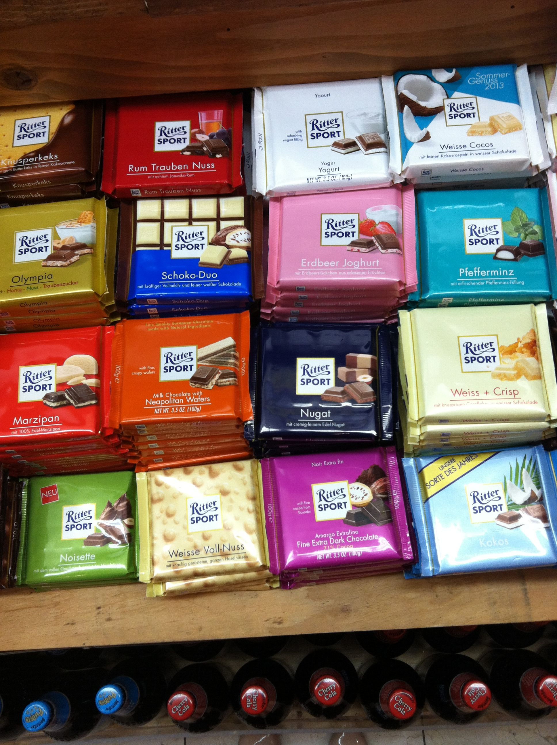 These r the best! Ritter Sport Chocolate! In every flavor