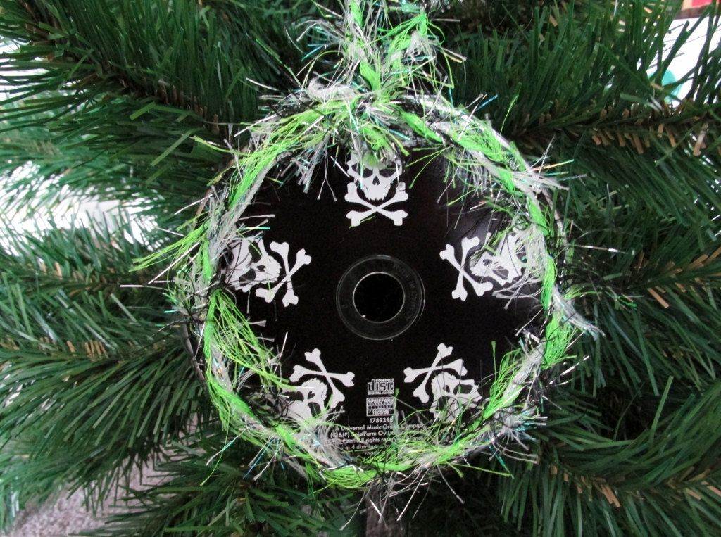 five finger death punch upcycled cd ornament heavy metal christmas by jinglehell on etsy - Heavy Metal Christmas Decorations