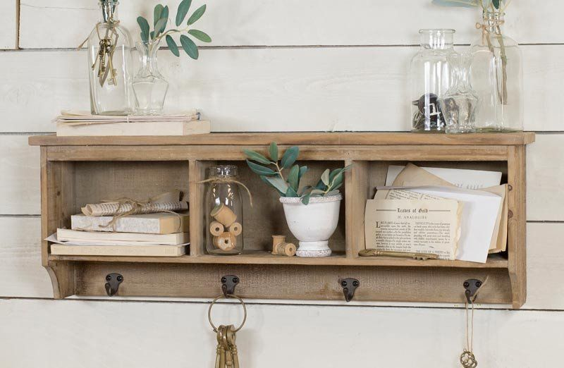 Add Functional Farmhouse Charm To Your Space With Cubby Shelf With Hooks This Huge Shelf Has 3 Cabinets And 6 Hooks Tha In 2020 Cubby Shelves Shelves Wood Cubby Shelf