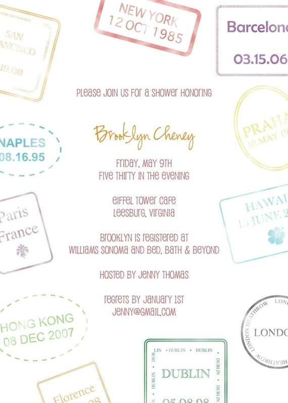 Passport Stamp Bridal Shower Invitation  Perfect by sugarhouseink, $15.00
