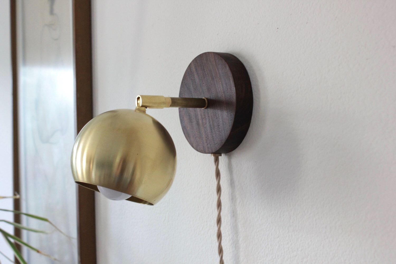 plug in industrial lighting. plug in sconce, industrial lighting, brass wall lamp, modern light, mid century sconce lighting