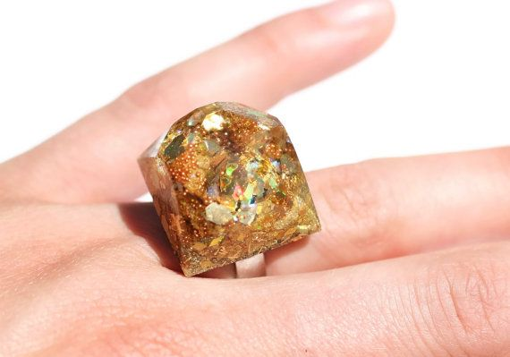 Chunky Gold Ring Holographic Glitter Ring New Years Eve Ring Big