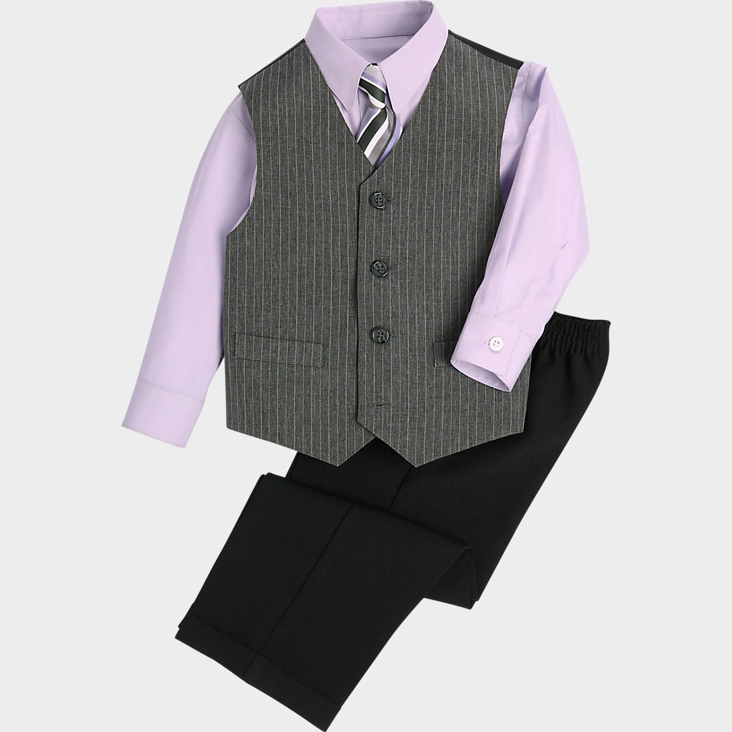 a128a1fc8 Joseph Feiss Gray and Lavender Pinstripe Vest, Pant, Shirt, and Tie Set -  Boy's Sweaters & Vests | Men's Wearhouse
