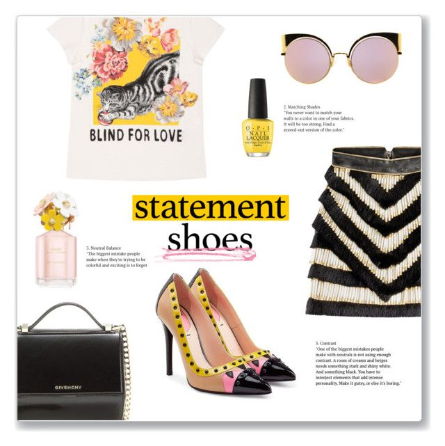 """Statement Shoes"" by s-best ❤ liked on Polyvore featuring Fendi, Gucci, Balmain, Givenchy, OPI, Marc Jacobs, Spring, springfashion, statementshoes and polyvorecontest"