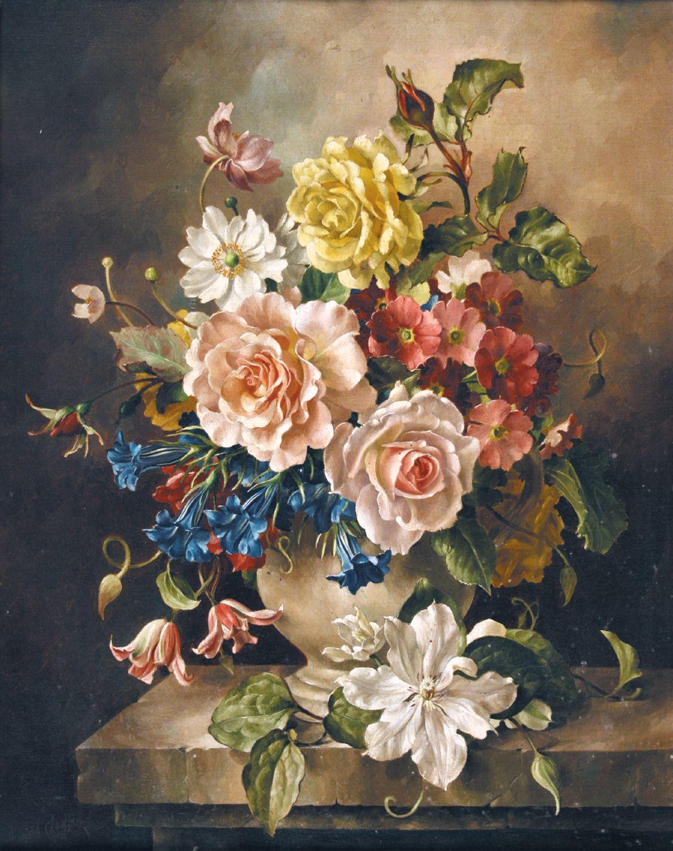 Harold Clayton 1896 1976 Still Life With Summer Flowers Oil On Canvas Flores Pintadas Pintura Floral Bodegon De Flores