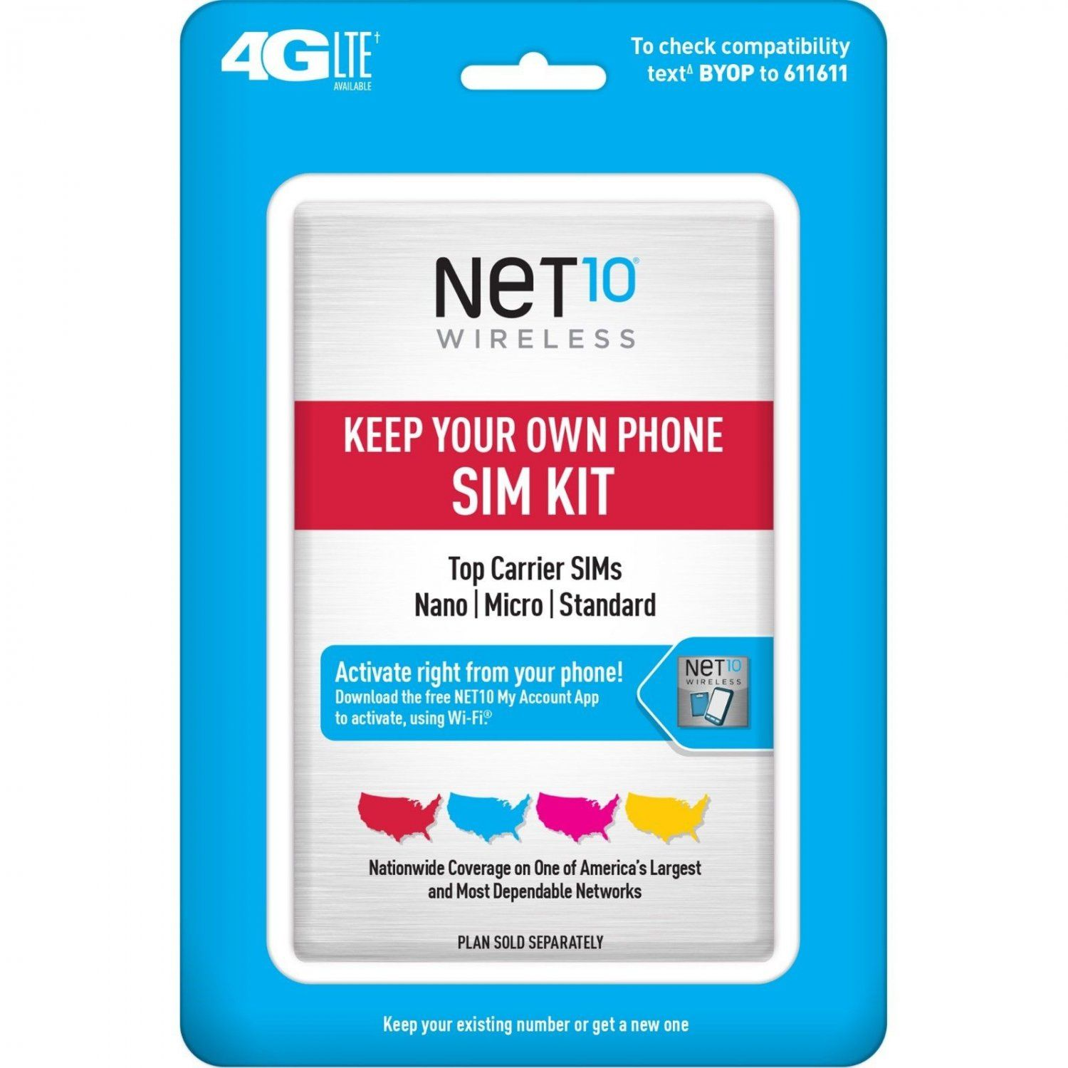 Net10 Keep Your Own Phone Sim Activation Kit Retail Packaging