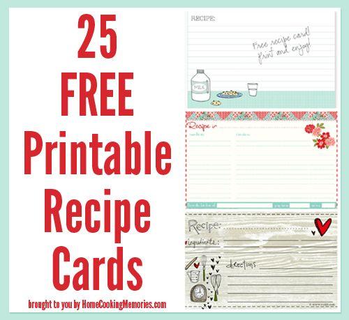 25 Free Printable Recipe Cards Food Printables Printable Recipe Cards Recipe Cards Template