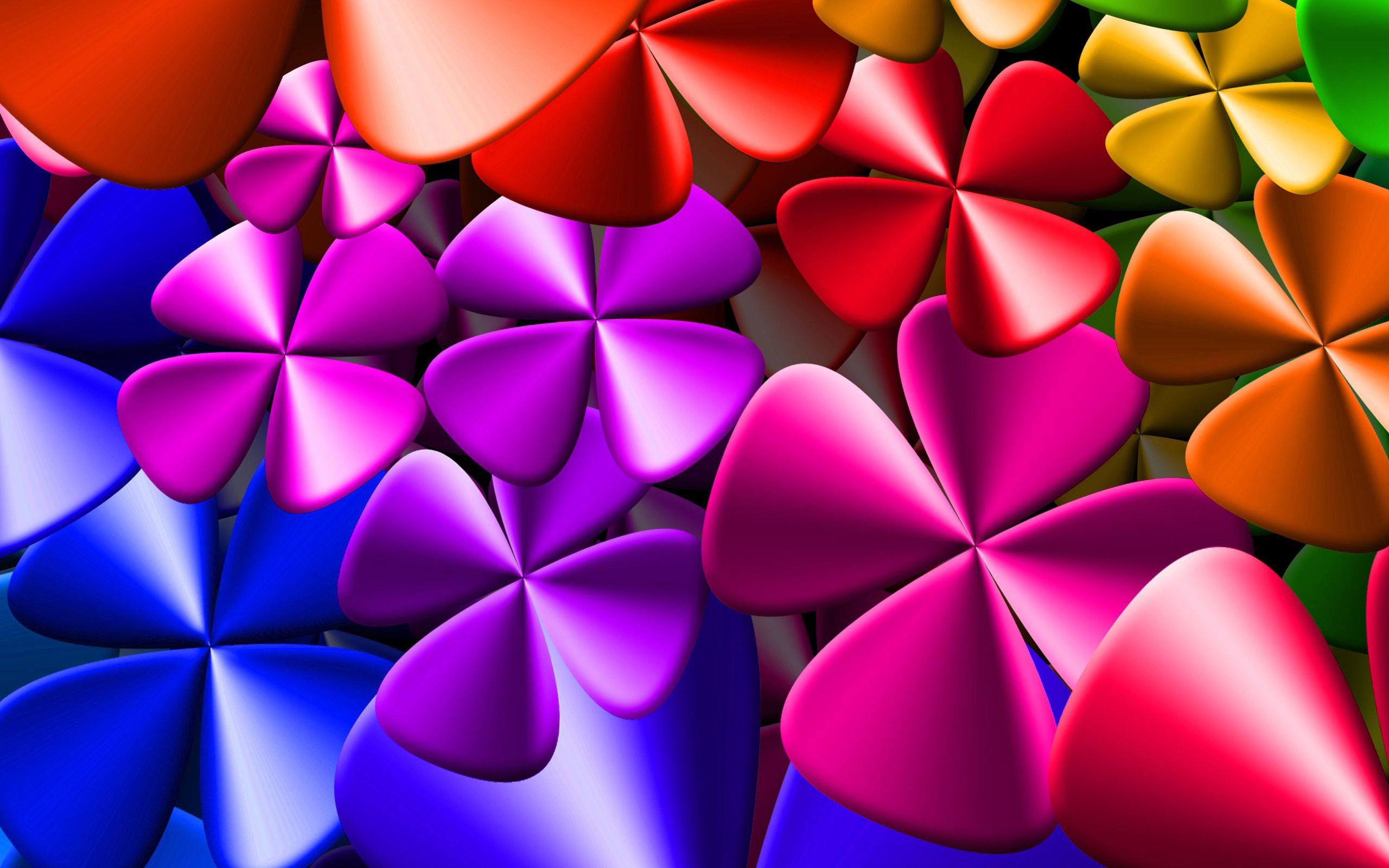 Colorful 3D Clovers