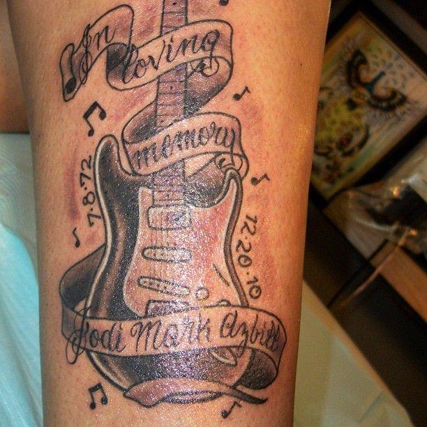 Loving Memory Memorial Guitar Tattoo On Forearm   Ink ...