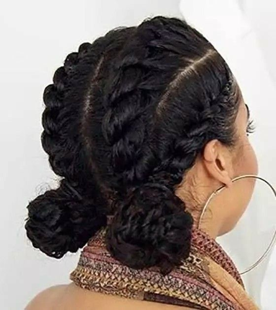 Cornrow Double Buns With Images Natural Hair Styles Cornrow