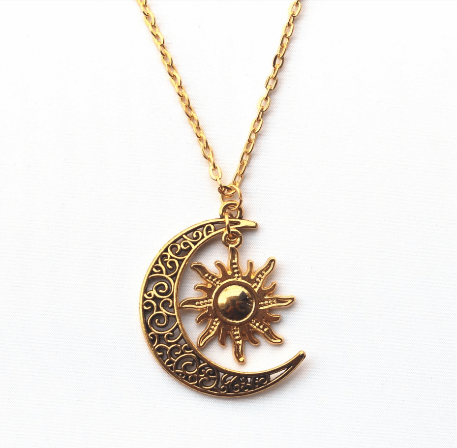 Gold/Silver Plated Sun & Moon Necklace | Moon, Gold and ...