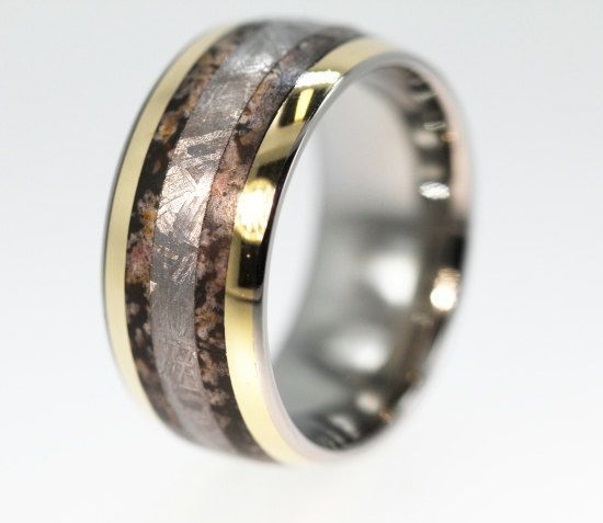 Dinosaur Bone Ring Gibeon Meteorite Wedding Band With Gold Inlay Very Rare