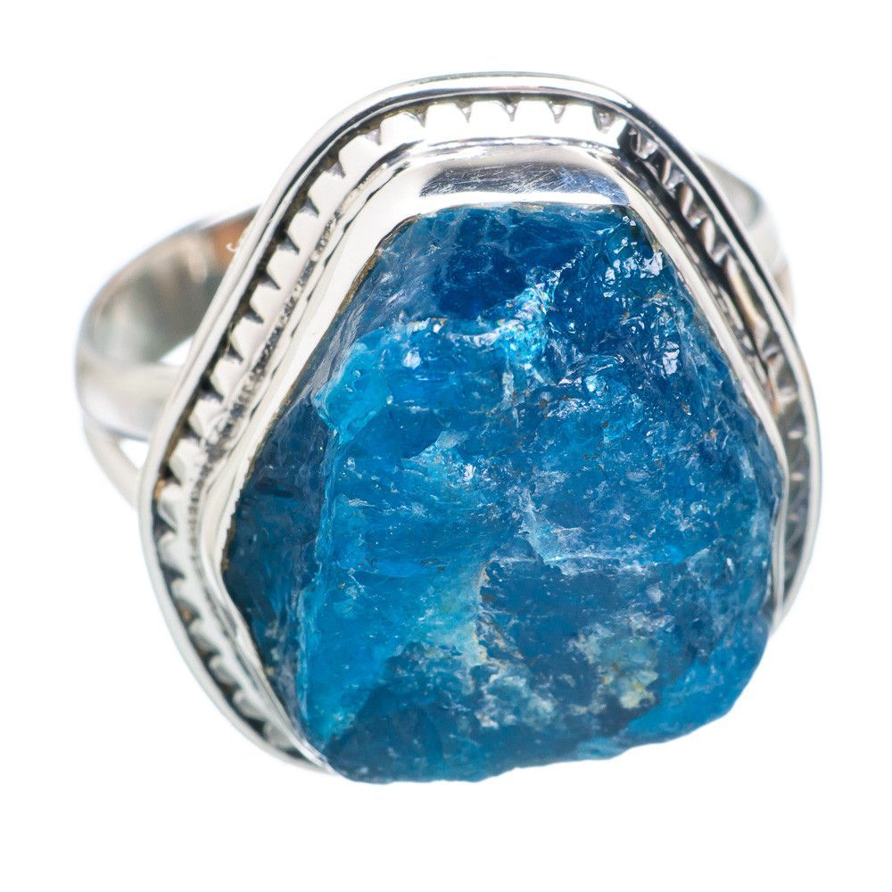 Rough Apatite 925 Sterling Silver Ring Size 8.75 RING721714