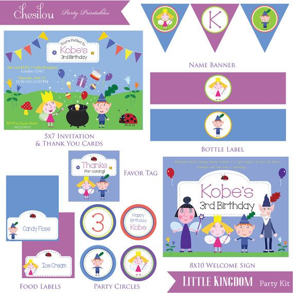 Customized Ben Holly S Little Kingdom Digital Printable Etsy Printable Birthday Invitations Ben And Holly Party Kit