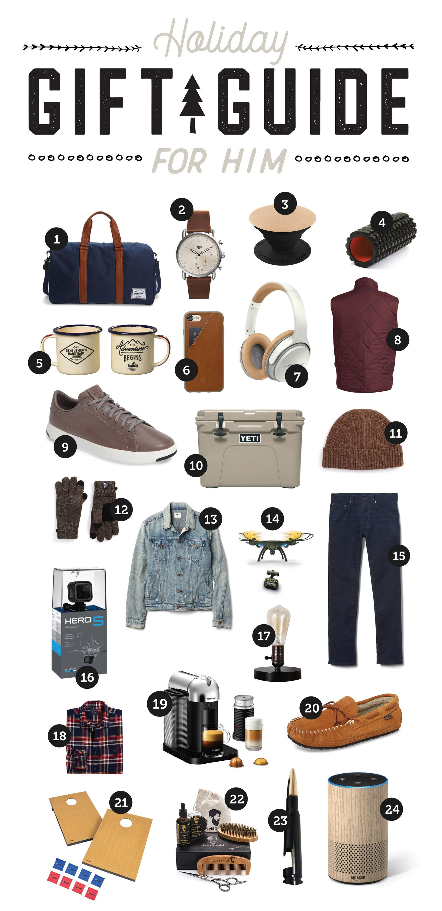 Holiday Gift Guide For Him Trendy Holiday Gifts Gift Guide For
