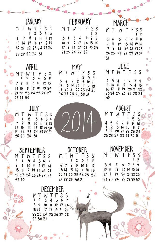 Small 2014 Fox Calendar / Artwork by Julianna Swaney