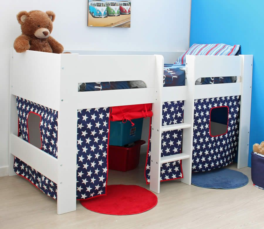 Flexa Ethan White Mid Sleeper Bed with Play Tent | The Flexa Ethan kids white mid sleeper bed includes a blue and red under bed play tent with white star ... & Flexa Ethan White Mid Sleeper Bed with Play Tent | The Flexa Ethan ...