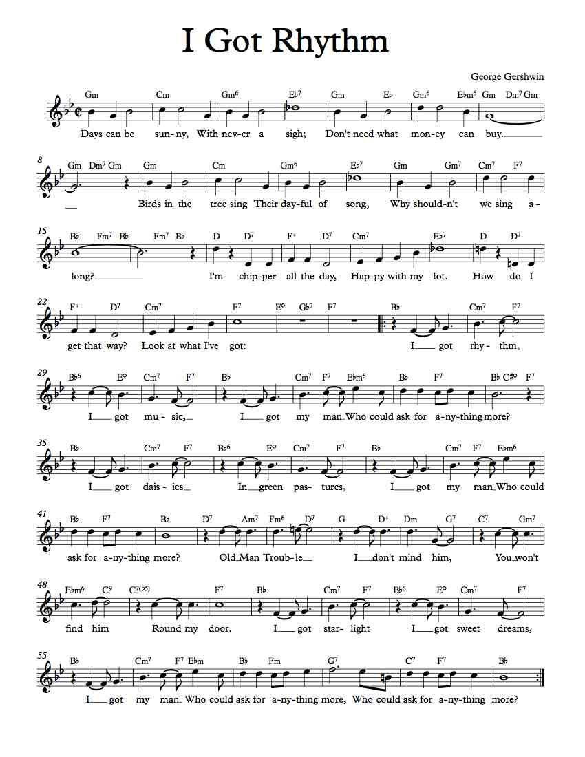 an analysis of i got rhythm by george gershwin Gershwin's piano score for i got rhythm was part of a larger project begun in 1931, george gershwin's songbook a collection of gershwin's personal favourites among his many hit tunes, it featured the composer's own adaptations designed for the above-average pianist.