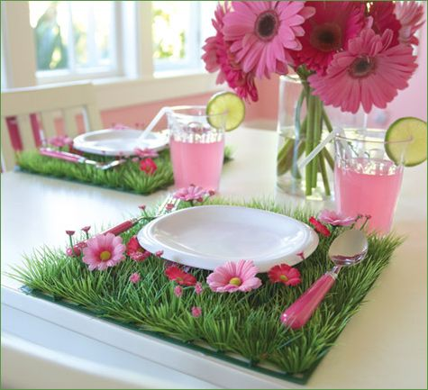 Garden Fairy Party Tablescape. Add foux grass for each plate setting. Another option is to add it as a table runner. Great DIY craft for Easter Holiday or birthday party decoration.