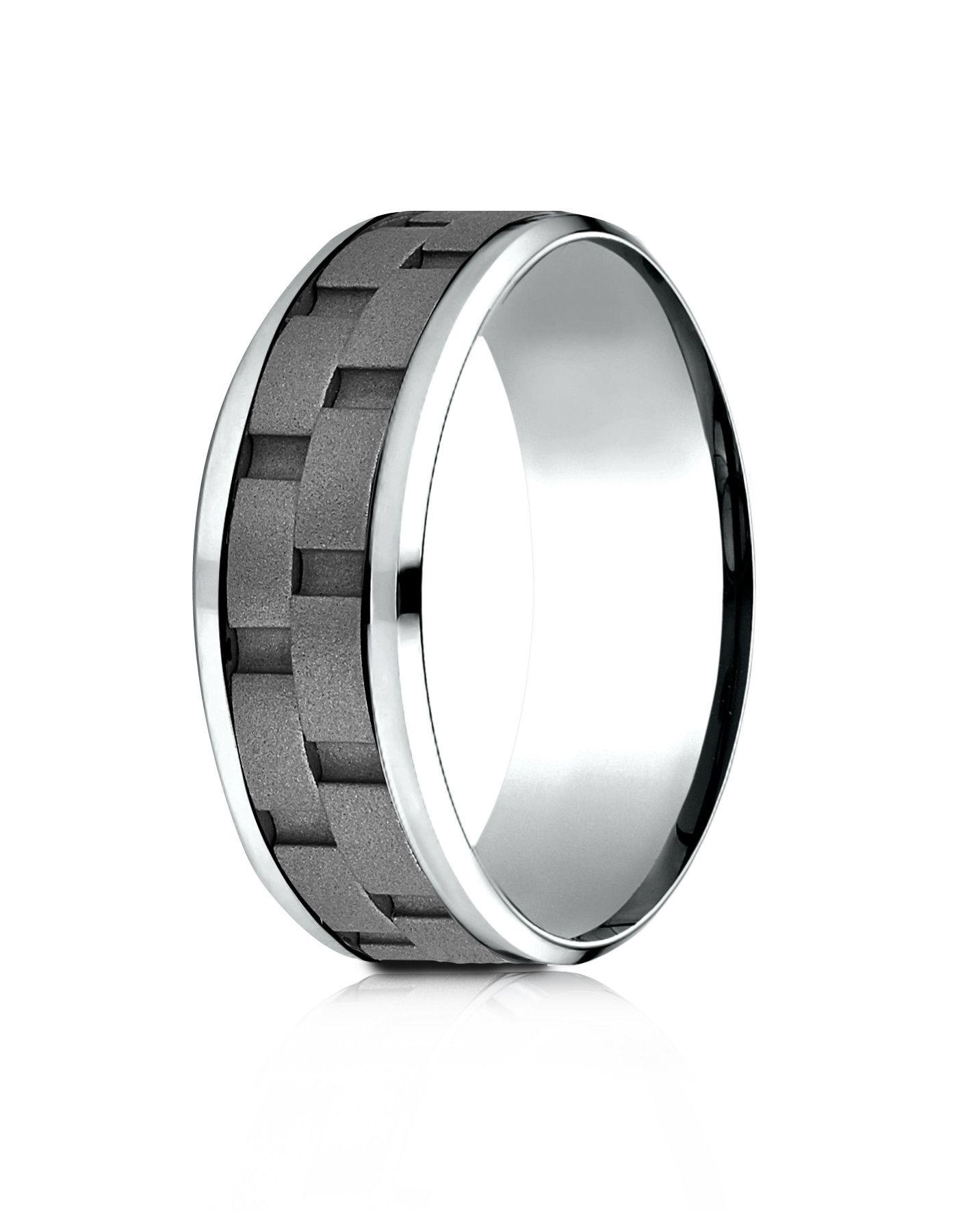 ANACONA Mens Cobalt Wedding Band Link Pattern by Benchmark