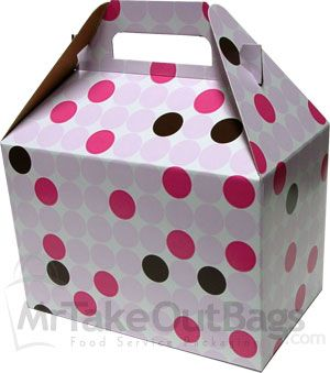 Share MrTakeOutBags.com  Bakery Dots Medium Gable Boxes 8 x 4.88 x 5.25"