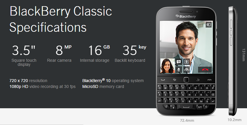 BlackBerry Classic Official Specs - http://blackberryempire.com/blackberry-classic-official-specs/ #BlackBerry #Smartphones #Tech