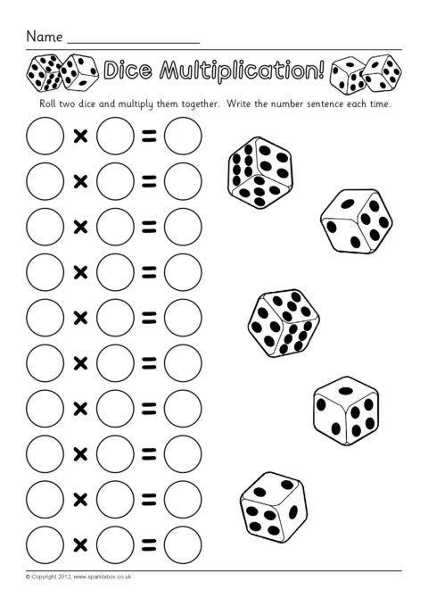 Dice Multiplication Worksheets (SB7330)