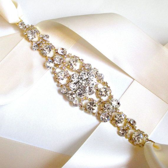 Gold Wedding Dress Sash Rhinestone Encrusted Bridal by GetNoticed, $42.00
