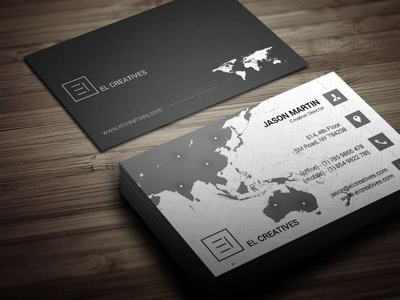Creative Map Business Card by bouncy on Creative Market ...