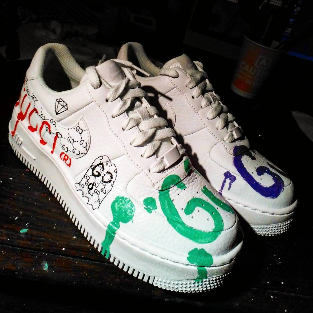 newest 81b13 2f4f3 Custom Nike Air Force one,gucci ghost,gucci,custom sneakers , custom shoes  , custom nike ,custom kicks ,hand painted