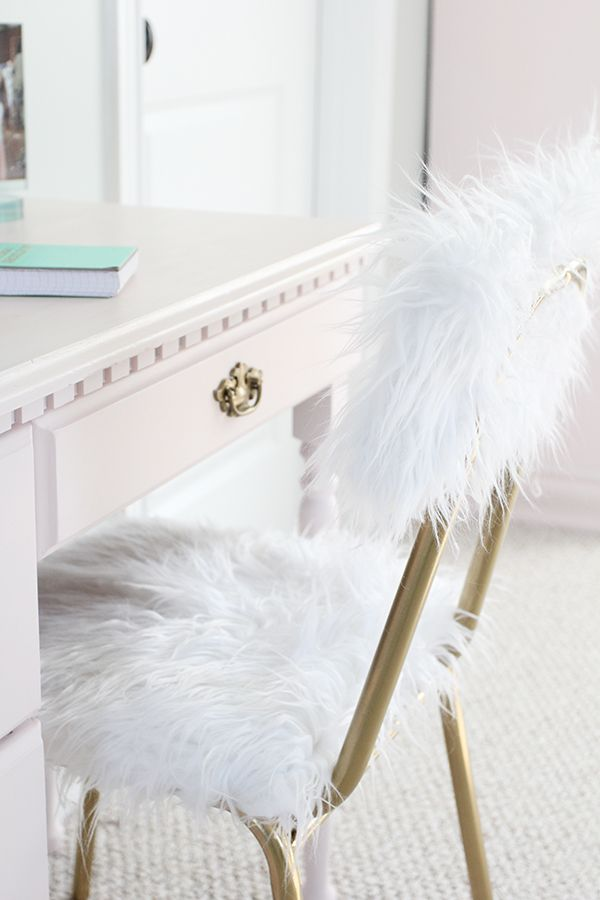 Diy Fur Desk Chair One Room Challenge Week 5 Diy Beauty Room