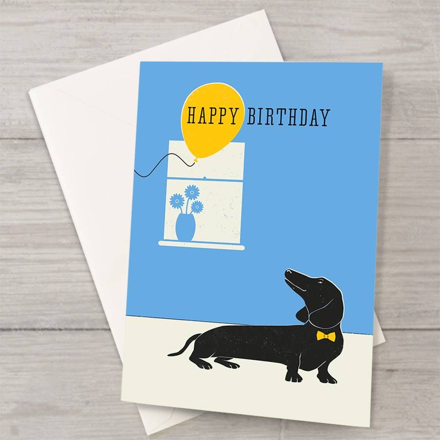 Dachshund With Balloon Birthday Card Well Bred Design