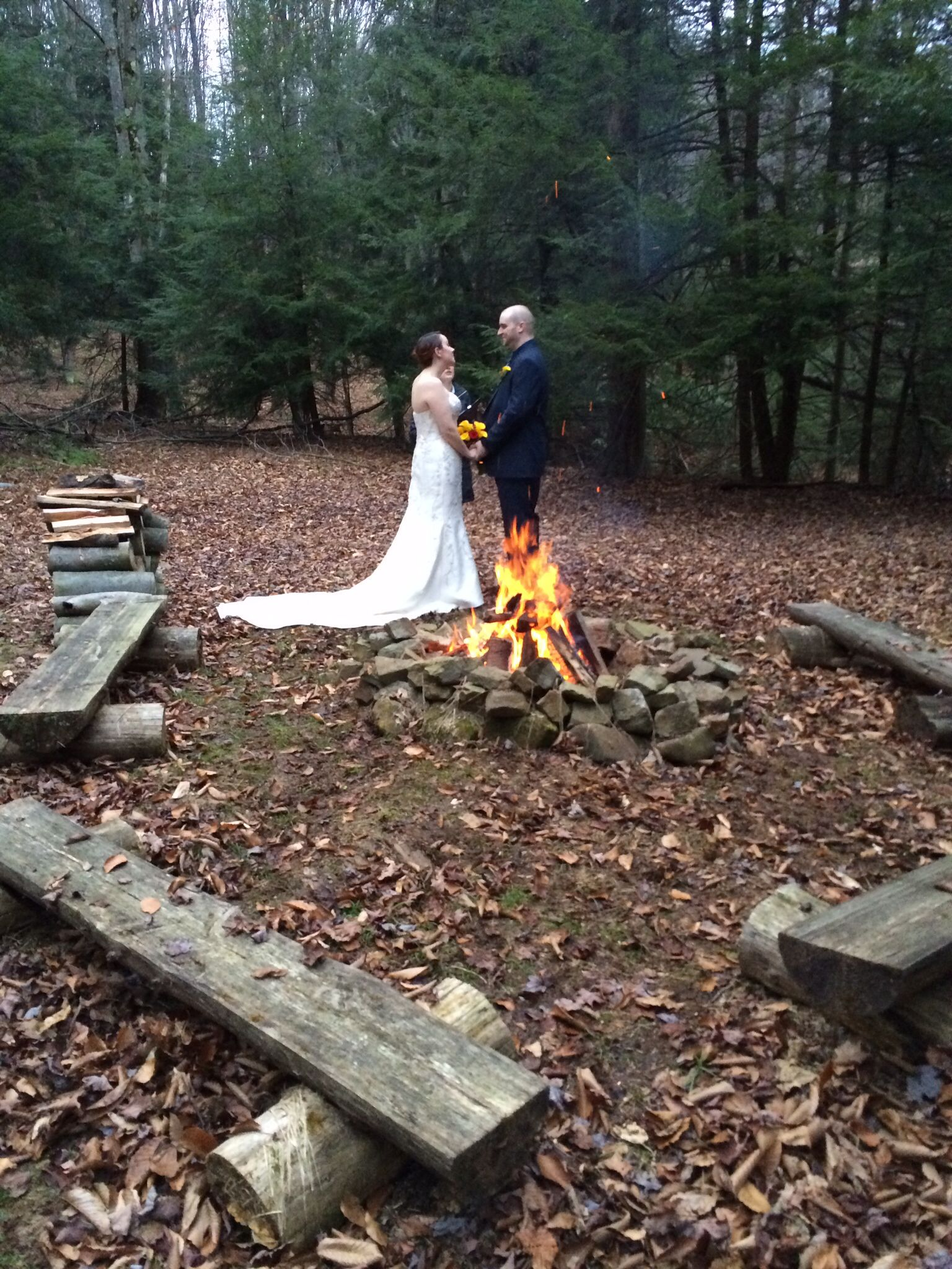 At The Fire Ring In Woods A Peaceful And Elopement For Two