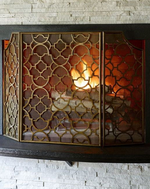 Modern Fireplace Screens Living Room Contemporary With: Romancing The Hearth: The First Fire Of The Season