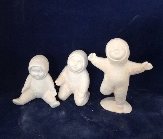 Ceramic bisque ready to paint snow babies-set of by RandTceramics