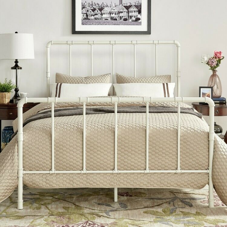 Details About Full Metal Bed White Bedframe Headboard Footboard