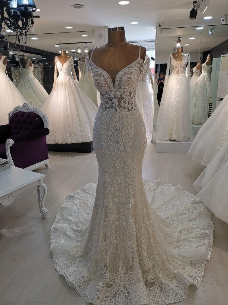 Off Shoulder Mermaid Wedding Dress Beaded Trumpet Wedding Etsy Wedding Dresses Taffeta Trumpet Wedding Gown Wedding Dresses Beaded [ 1059 x 794 Pixel ]