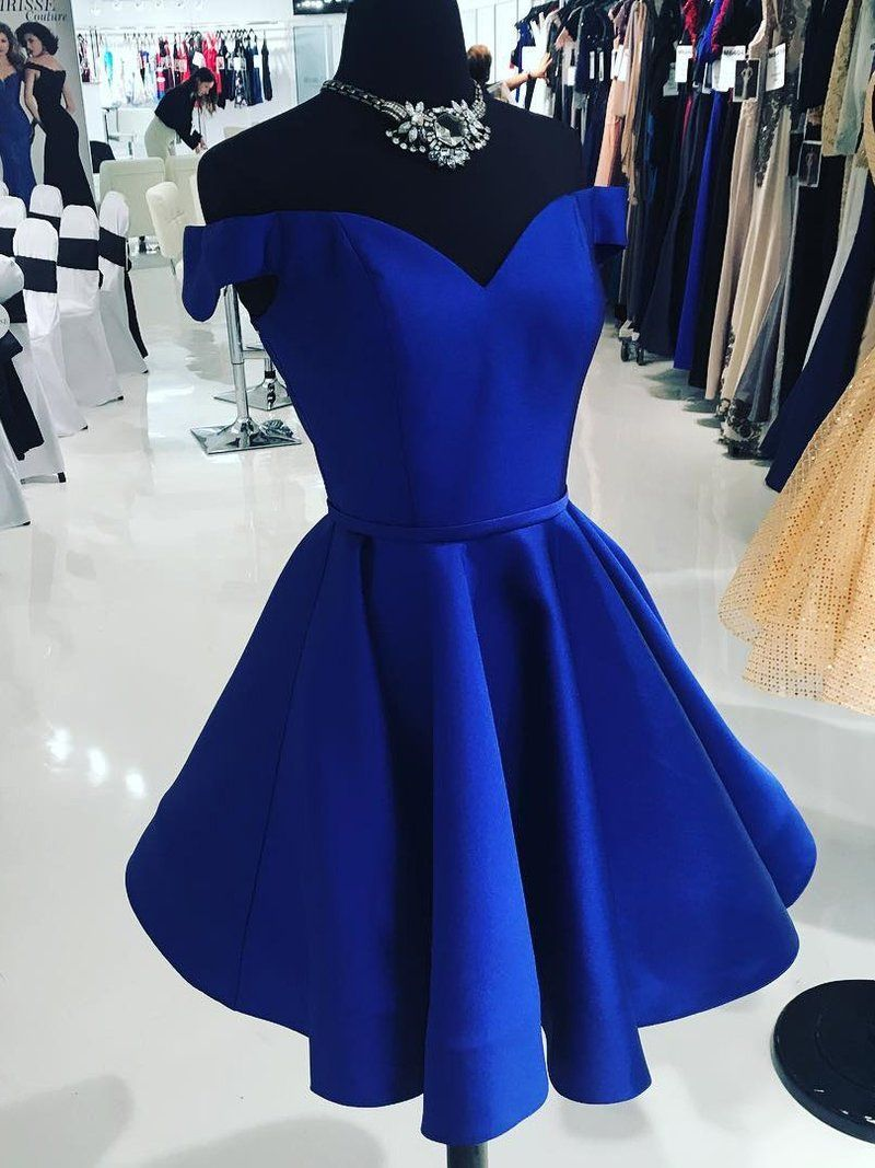 Off the shoulder homecoming dresses cheap royal blue short prom