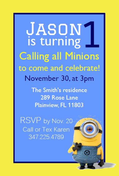 minion invitation minion birthday