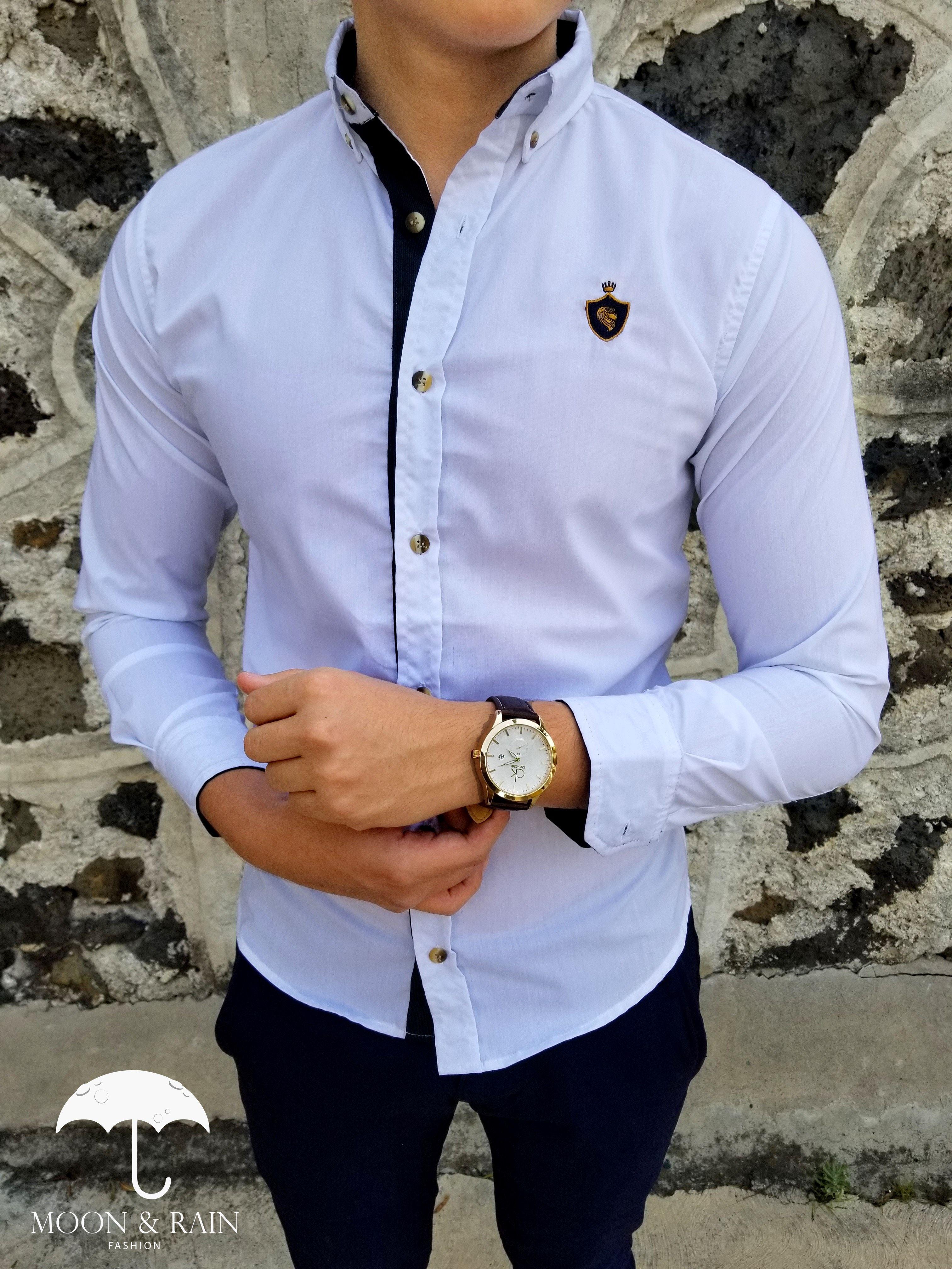 90cd6acd99405 Ropa para hombre ideal para una ocasión casual y o formal  Camisa Blanca  Lisa RM de la marca Moon   Rain