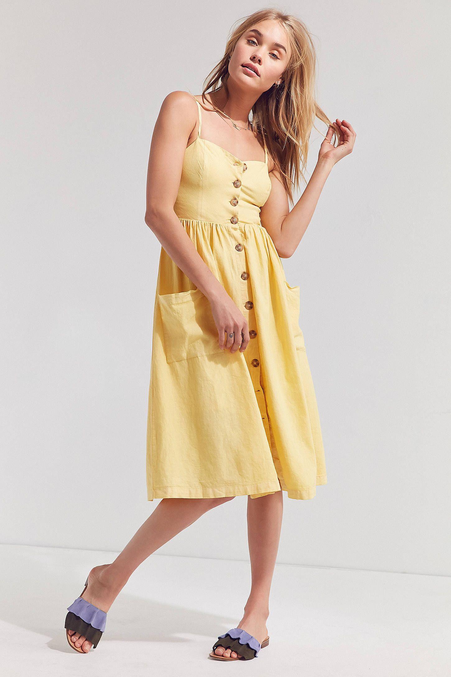 61beaf4e6a8 Cooperative Emilia Linen Button-Down Midi Dress  ad