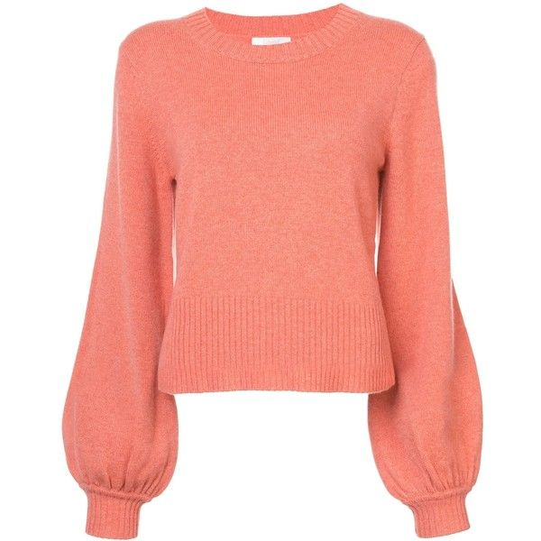 Chloe Orange Cashmere Sweater ($1,095) ❤ liked on Polyvore featuring tops,  sweaters,