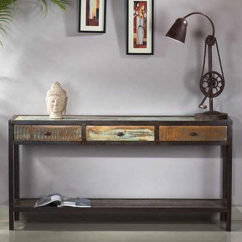 Industrial Console Table 3 Drawer Marseille Milan Direct Style