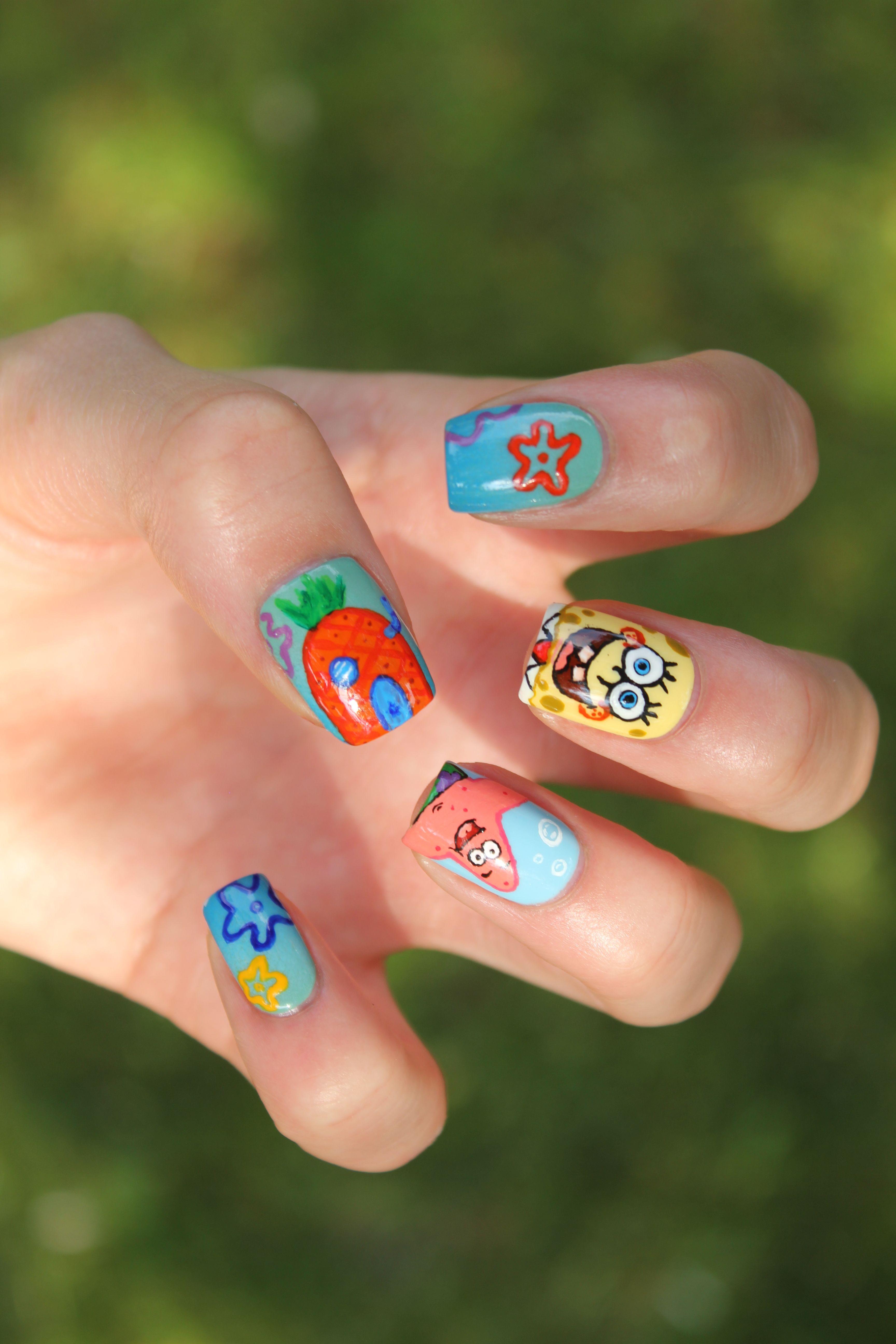 Coewless Nail Polish Blog Spongebob Nails Nail Art Designs Nail Designs