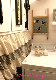 laundry room makeover, home decor, laundry rooms, Made this ruffled drape to hide the dog leashes trash bags brooms and others