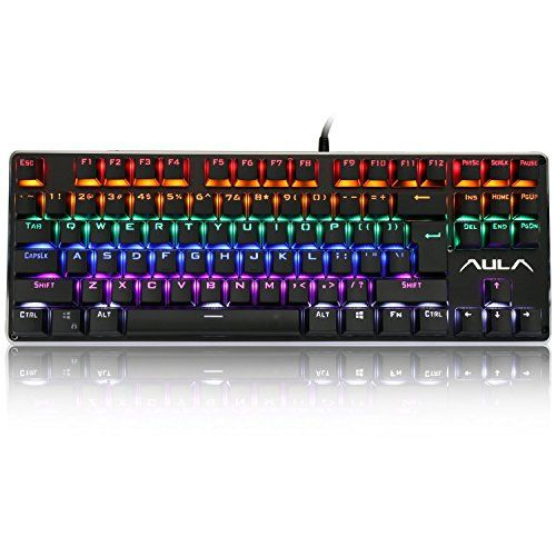 Aula F2012 Mechanical Gaming Keyboard Waterresistant Multicolor Backlit Gaming Keyboard With Blue Switch 87 Keyboard Pc Games Accessories Computer Accessories