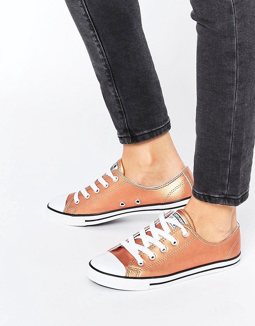 6df6f1cca6a9 Converse All Star Dainty Rose Gold Metallic Trainers