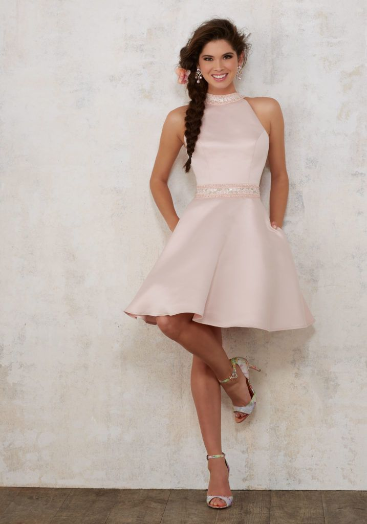 e216835dbf0 Quinceanera Dresses by Morilee designed by Madeline Gardner. Satin A-line Damas  Dress with Beaded High Neckline and Waistband. Short Skirt Features Side ...