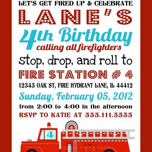 free printable birthday party invitation templates fire trucks