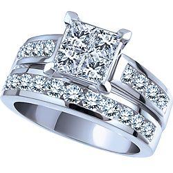 We love this 100 Carat 14k White Gold Diamond Engagement Ring Set